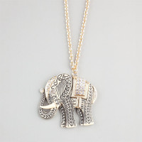 Full Tilt Etched Rhinestone Elephant Necklace Gold One Size For Women 24191762101