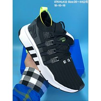 DCCK A334 Adidas EQT Support Mid ADV Flyknit Comfortable Running Shoes Black Grey Green