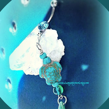Belly Ring Turquoise Sea Turtle,Ocean Naval Ring,Sea Turtle Jewelry,Sea Turtle Turquoise,Turtle Belly Ring,Ready to Ship, Direct Checkout