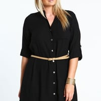 PLUS SIZE WOVEN SHIRT DRESS