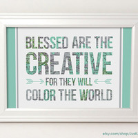 Blessed are the Creative - 4x6 Framed Print - Map Art - Inspirational Quote Art