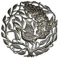 Peacock in Tree 24-inch Metal Art - Croix des Bouquets