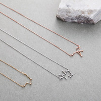 Rose Gold Zodiac Necklace, Sterling Silver Constellation Necklace with CZ, Birthday Gift for her, Gold Star Sign Necklace, Leo Cancer Virgo