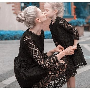 Mother Daughter Dresses Wedding Black Lace White Lace Autumn Mommy and Me Clothes Fancy Dresses