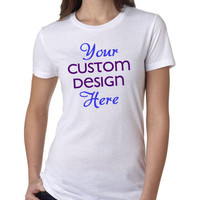 CUSTOMIZE Your Own 2 Color Women's Crew Neck T-Shirt With Your Personal Design or Ideas