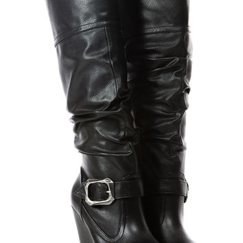 Black Faux Leather Knee High Buckle Up Platform Wedge Boots