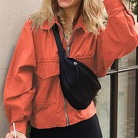 Women Solid Color Zip Jackets Female Thin Short Jackets and Coats Ladies High Street Outerwears