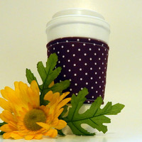 Burgundy and White Fabric Coffee Cozy/ Cup Sleeve/ Beverage Sleeve/ Coffee Sleeve/ Beverage Cozy/ Coffee Cup Sleeve/ Coffee Cuff