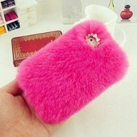 iBuy Plush Real Rabbit Fur Phone Case Cover for Samsung Galaxy S4 i9500