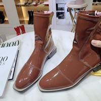 FENDI 2020 NEW Womens Trending brown Leather Zipper Ankle Short Boots female Flats High Heels Shoes Winter Autumn