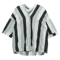 V-Neck Striped Blouse in Loose Fit