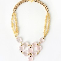 Pink Rose Quartz Statement Necklace with Yellow Citrine Stone Chips, Fashion Crystal Jewelry