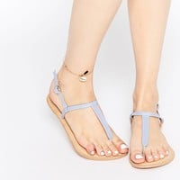 ASOS FLAVOUR Wide Fit Leather Flat Sandals