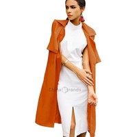 Stylish Turn-down Collar Sleeveless Pure Color Jacket for Ladies