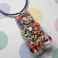 Giant Candy Sprinkle Gummy Bear Pendant Necklace on Purple Jelly Cord