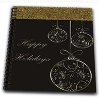 Bev Newcomer Christmas Designs - Elegant Chocolate Brown and Gold Ornament Happy Holidays Christmas Design - Memory Book 12 x 12 inch (db_113893_2)
