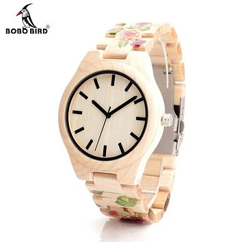Wood Watch With UV Printing Flower Wooden Band Mens Women's Quartz Watches Movement Wristwatches