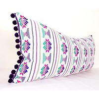 Lumbar White Pillow Cover 14x28 With Purple Pom Poms, Boho Romm Decor