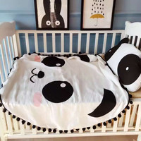 cute tassel white and black track circular blanket cotton baby sleep panda design for kids bedroom bedding quilt breathable soft