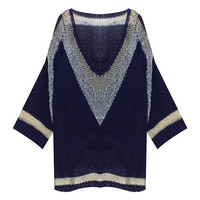 V -Neck Knitted Batwing Sweater