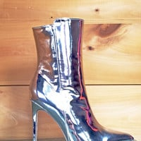 Ashley Silver Chrome Pointy Toe High Heel Boot 6.5-11