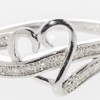.925 Sterling Silver Pave Swoosh Heart Diamond Ring - .16TCW, Size 7