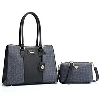 GUESS Women Fashion Leather Handbag Tote Crossbody Satchel Set Two Piece