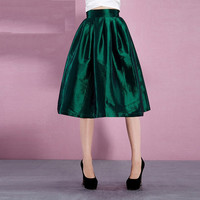 Casual Green Pleated Midi Skirt
