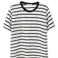 Color Block Lace & Cotton Stripe T-shirt