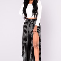 Maja Stripe Pants - Black