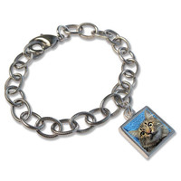 "Custom Photo Charm Bracelet (""Mia"" style) - Small Photo Charm Sterling Silver - Waterproof"
