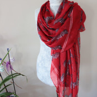 Red Zebra scarf, Red zebra pareos, Animal patterned shawl, Oversized shawls, Women's fashion, Women's accessories, Natural cotton fabric