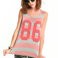 86 STRIPED KNIT MUSCLE TEE