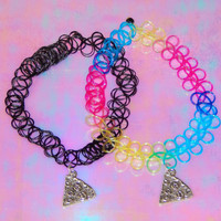 PIZZA PARTY TATTOO Choker Necklace // Tumblr // Pastel Goth