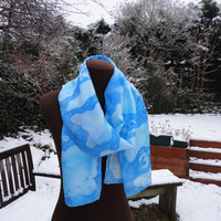 A Touch of Frost Om Snow Flakes Hand Painted Silk Scarf Clouds Sky - the Cosmic Web