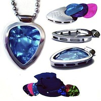 PICKBAY Guitar Pick Holder Pendant Necklace (Stainless Steel) & 6 Bright Jewel-tone Guitar Picks Set