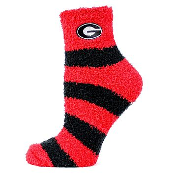 Donegal Bay Georgia Bulldogs Striped Fuzzy Socks-One Size