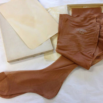 1950s Vintage Silk Stockings Crepe Unworn and new Two Pair with Box Size 9.5 50s