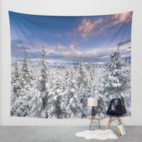 """""""Mountain light"""". Snowy forest at sunset Wall Tapestry by Guido Montañés"""