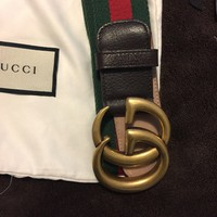 New Gucci Men's Red, Green Leather Double Gold G Logo size105/42