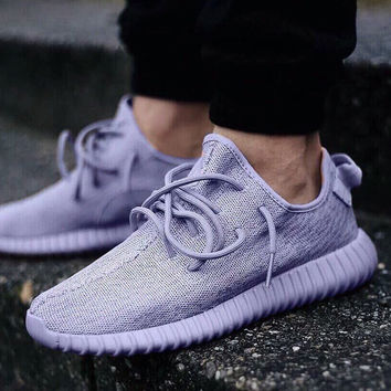 "Fashion ""Adidas"" Yeezy Boost Solid color Leisure Sports shoes Purple"