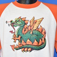 70s Fire Breathing Dragon Iron On t-shirt Large