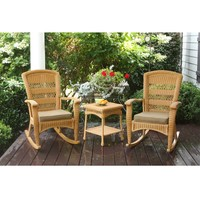 3-Piece Amber Wicker Resin Rocker Set