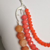 Coral and Orange Necklace - Coral and Orange Agate Necklace