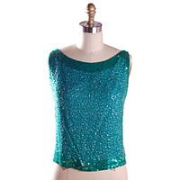 Vintage Blouse Silk Green Sequin Shell Royal Lynne 1950'S