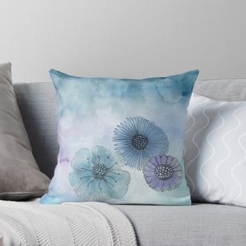 'Dreamy flowers' Throw Pillow by juliagrifol