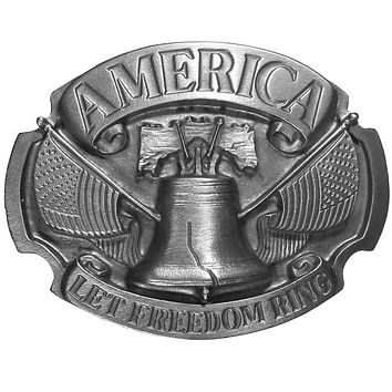 Sports Accessories - Let Freedom Ring Antiqued Belt Buckle