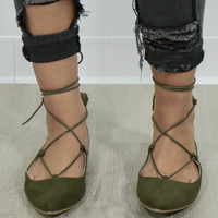 Palms Olive Lace Up Ballet Flats