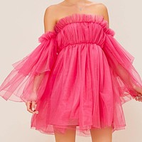 Off Shoulder Layered Ruffle Detail Mesh Babydoll Dress