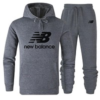 NB New Balance 2019 new simple solid color sports suit two-piece grey